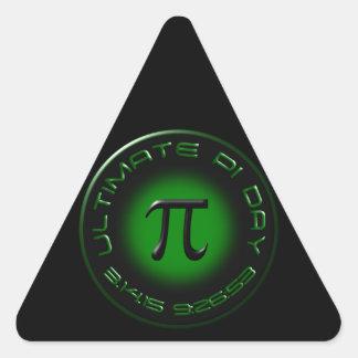 Ultimate Pi Day 2015 3.14.15 9:26:53 (green) Triangle Sticker