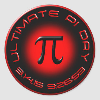 Ultimate Pi Day 2015 3.14.15 9:26:53 (red) Round Sticker