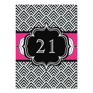Ultra Chic 21st Birthday or Bachelorette Chevron Card