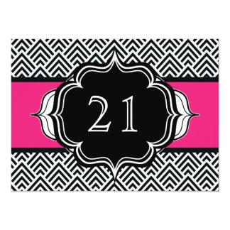 Ultra Chic Girl's 21st Birthday Modern Chevron 14 Cm X 19 Cm Invitation Card