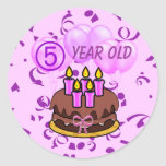 Ultra Cute 5 Year Old Birthday Cake Stickers