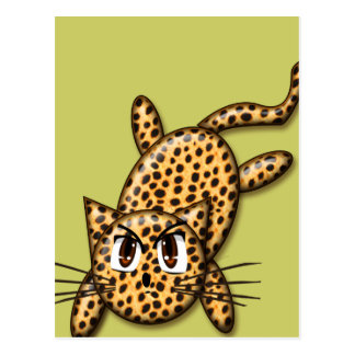 Ultra Cute Anime Leopard Kitty Postcard