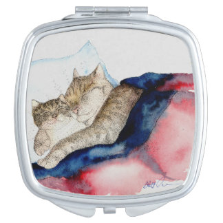 Ultra Cute Cuddling Mother and Kitten Mirror Compact Mirrors