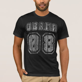 Ultra Distressed Obama 08 Jersey Styled T-Shirt