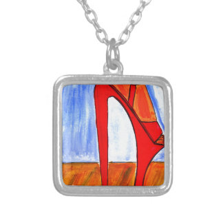 Ultra High Heels Square Pendant Necklace