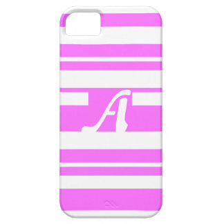 Ultra Pink and White Random Stripes Monogram iPhone 5 Cases