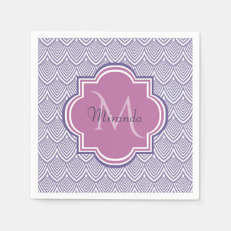 Ultra Violet Arched Scallops Orchid Monogram Name Disposable Serviette