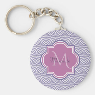 Ultra Violet Arched Scallops Orchid Monogram Name Key Ring