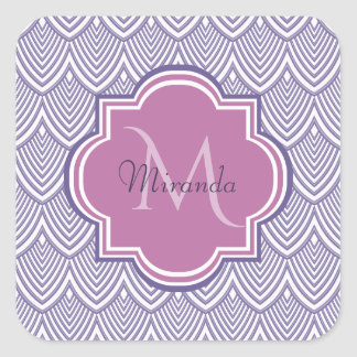 Ultra Violet Arched Scallops Orchid Monogram Name Square Sticker