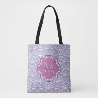 Ultra Violet Arched Scallops Orchid Monogram Name Tote Bag