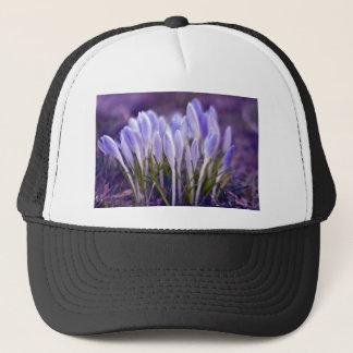 Ultra violet crocuses trucker hat