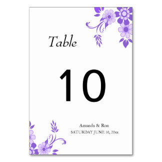 Ultra Violet Flower Wedding Tabble Card