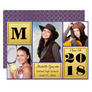 Ultra Violet Gold Photo Graduation Card