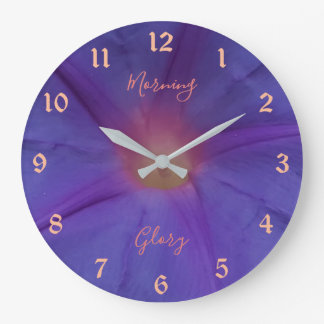 Ultra Violet Morning Glory Flower and Text Large Clock