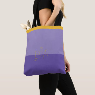 Ultra violet & mustard yellow tote bag