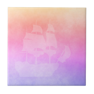 Ultra violet pink and golden peach with sailboat tile