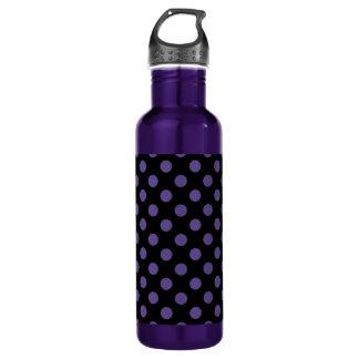 Ultra violet polka dots on black 710 ml water bottle