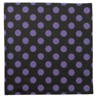 Ultra violet polka dots on black napkin