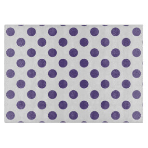 Ultra violet polka dots on white cutting board