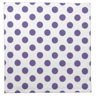 Ultra violet polka dots on white napkin
