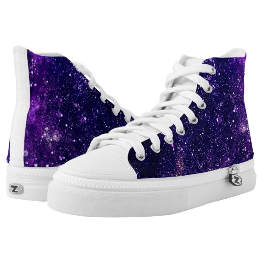 Ultra violet purple abstract galaxy high tops