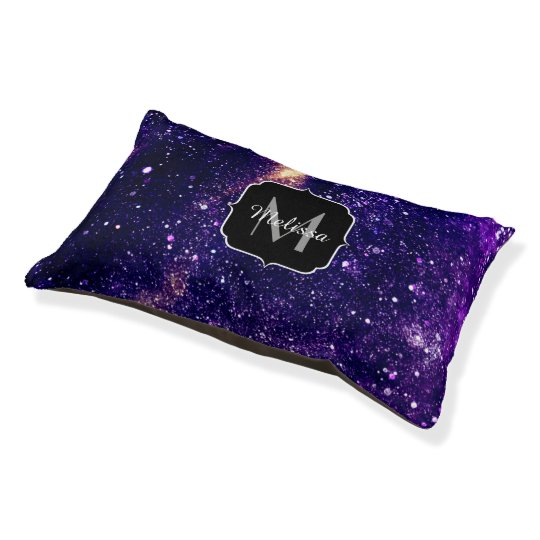 Ultra violet purple abstract galaxy Monogram Pet Bed