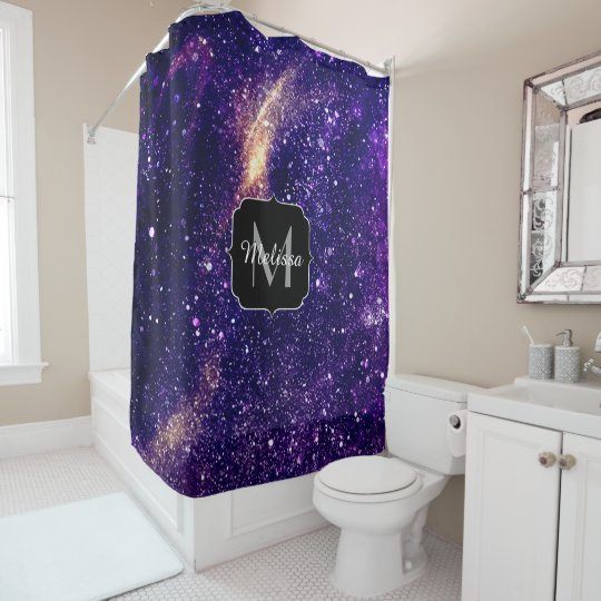 Ultra violet purple abstract galaxy Monogram Shower Curtain