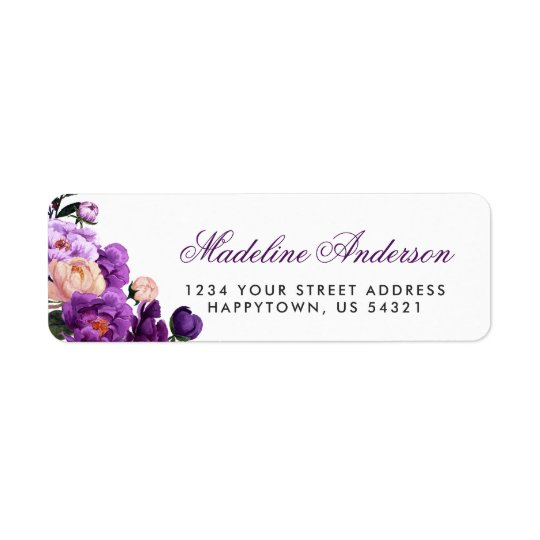 Ultra Violet Purple Floral Watercolor Return Address Label