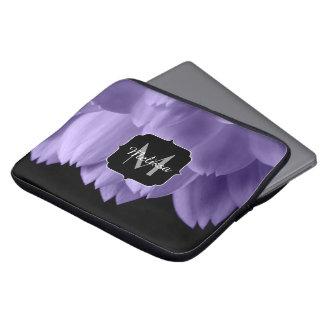 Ultra violet purple flower petals black Monogram Laptop Sleeve