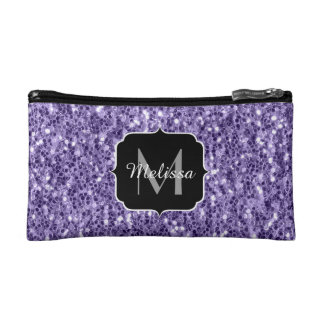 Ultra violet purple glitter sparkles Monogram Makeup Bag