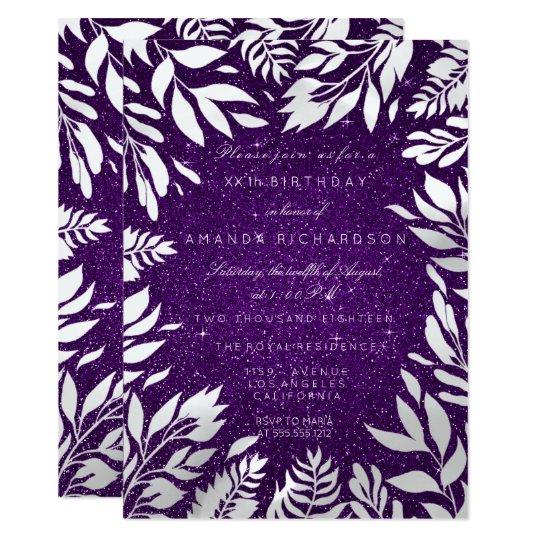 Ultra Violet Purple Glitter White Floral Frame Card