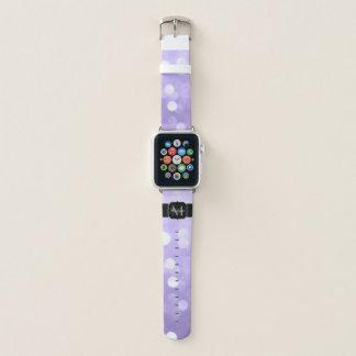 Ultra violet purple sparkly bokeh Monogram Apple Watch Band