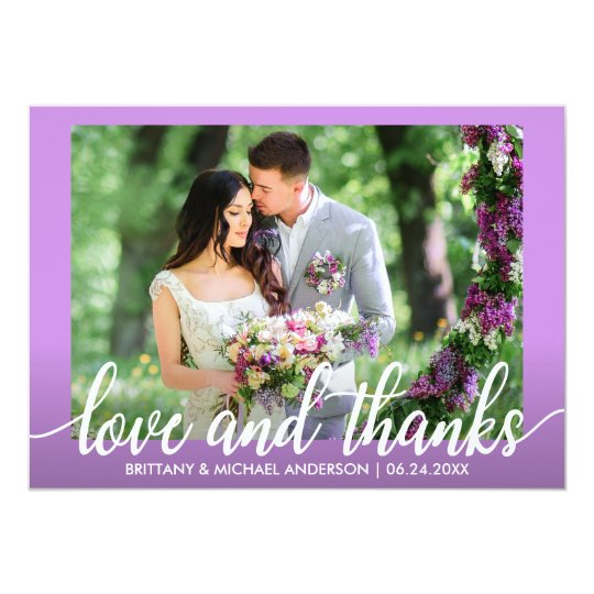 Ultra Violet Purple Wedding Love and Thanks Card