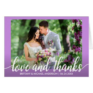 Ultra Violet Purple Wedding Love and Thanks Fold Card