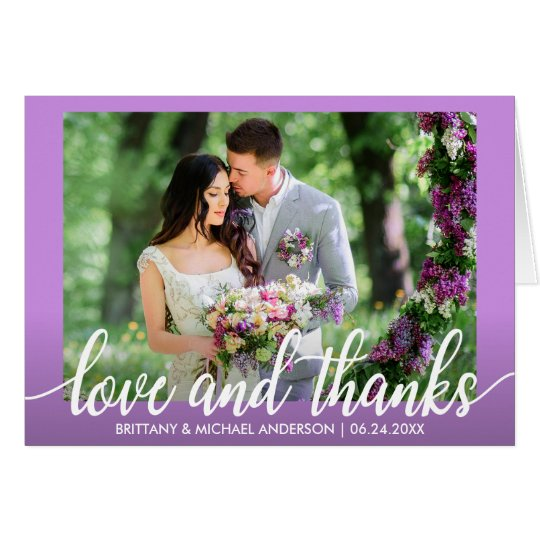Ultra Violet Purple Wedding Love and Thanks Note Card