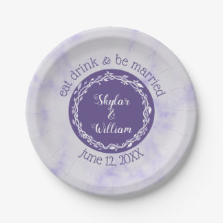 Ultra Violet Wedding Eat Drink And Be Married Paper Plate