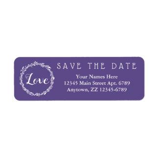 Ultra Violet Wedding Purple Save The Date Return Address Label