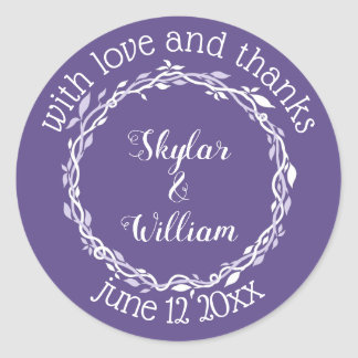Ultra Violet Wedding Simple Love And Thanks Classic Round Sticker