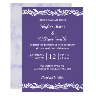 Ultra Violet Wedding Simple Purple And White Card