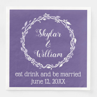 Ultra Violet Wedding Simple Purple Reception Paper Napkin