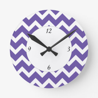 Ultra violet white Chevron pattern and numbers Round Clock