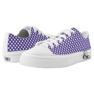 Ultra violet white polka dots pattern low tops