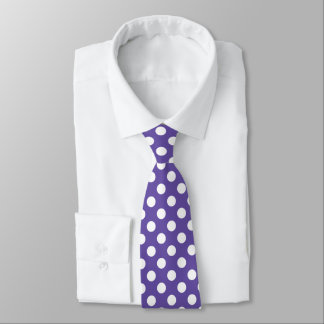 Ultra violet white polka dots pattern tie