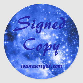 Ultramarine Blue Colored Stars Signed Copy Classic Round Sticker