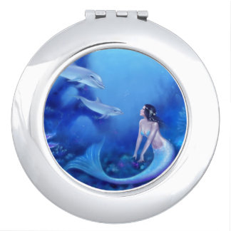 Ultramarine Mermaid Round Compact Mirror
