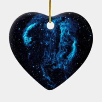 Ultraviolet image of the Cygnus Loop Nebula crop Ceramic Heart Decoration