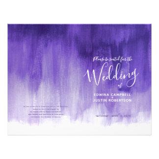 Ultraviolet purple abstract art wedding programme