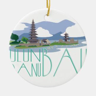 Ulun Danu Bali Round Ceramic Decoration