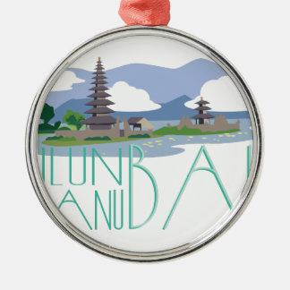 Ulun Danu Bali Silver-Colored Round Decoration