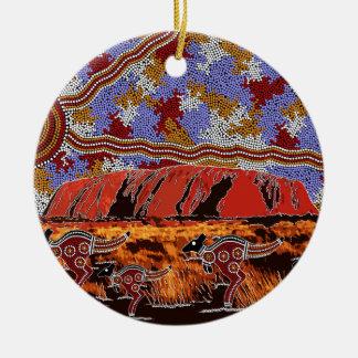 Uluru - Authentic Aboriginal Art Ceramic Ornament